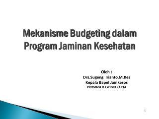 Oleh  : Drs.Sugeng  Irianto,M.Kes Kepala Bapel Jamkesos PROVINSI D.I.YOGYAKARTA