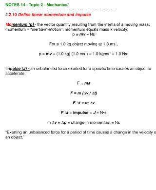 NOTES 14 - Topic 2 - Mechanics *