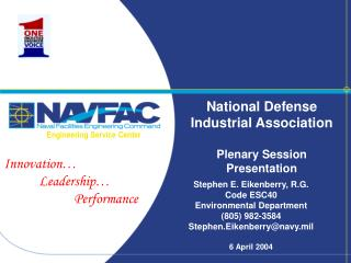 National Defense Industrial Association Plenary Session Presentation