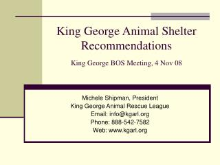 King George Animal Shelter Recommendations King George BOS Meeting, 4 Nov 08
