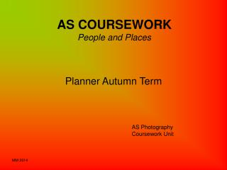 AS COURSEWORK People and Places