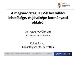 A magyarországi KKV-k beszállítói lehetősége, és jövőképe kormányzati oldalról XII. ABAS Vevőfórum