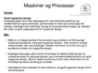 Maskiner og Processer
