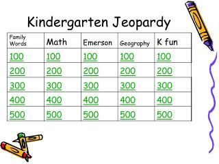 Kindergarten Jeopardy