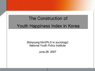 The Construction of  Youth Happiness Index in Korea