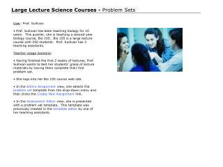 Large Lecture Science Courses -  Problem Sets