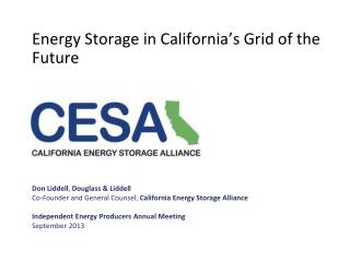 Energy Storage in California's Grid of the Future