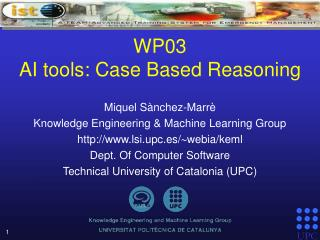WP03 AI tools: Case Based Reasoning