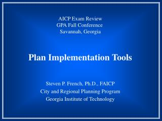 Plan Implementation Tools