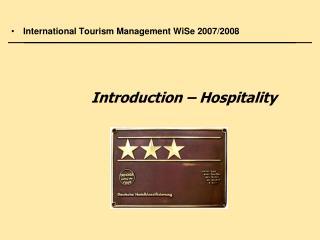 International Tourism Management WiSe 2007