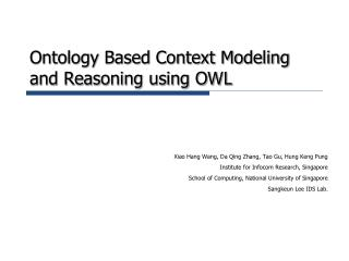 Ontology Based Context Modeling and Reasoning using OWL