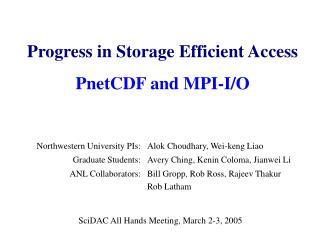 Progress in Storage Efficient Access PnetCDF and MPI-I/O