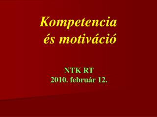 Kompetencia  és motiváció