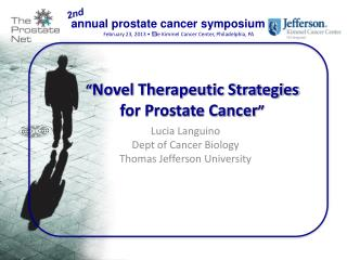 """ Novel Therapeutic Strategies for Prostate Cancer """