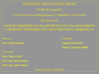 UNIVERSIT � DEGLI STUDI DI TRENTO Facolt� di Ingegneria