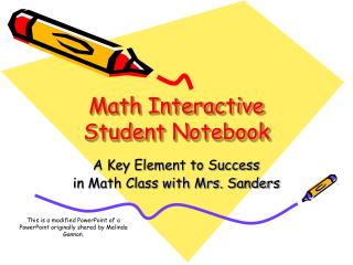 Math Interactive Student Notebook