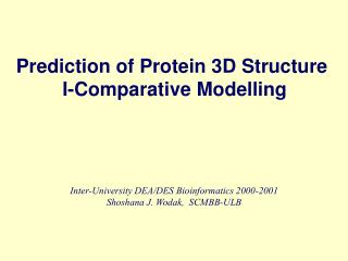 Prediction of Protein 3D Structure  I-Comparative Modelling