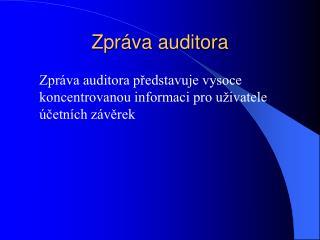Zpráva auditora