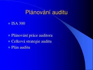 Plánování auditu