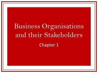 Business Organisations and their Stakeholders