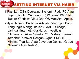 SETTING INTERNET VIA HAIER