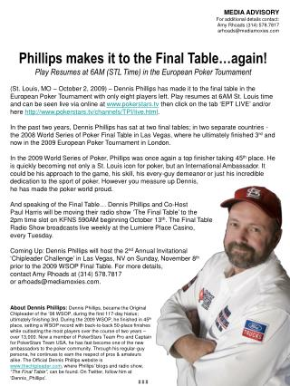 Phillips makes it to the Final Table…again!