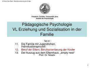 12. Beruf der Eltern, Berufsorientierung der Kinder