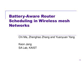 Battery-Aware Router Scheduling in Wireless mesh Networks
