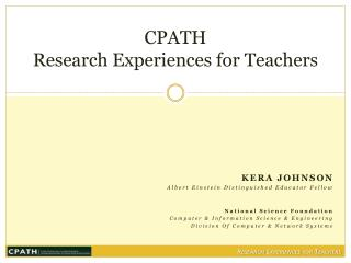 CPATH Research Experiences for Teachers