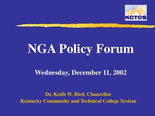 NGA Policy Forum Wednesday, December 11, 2002