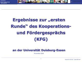 """Ergebnisse zur """"ersten Runde"""" des Kooperations- und Fördergesprächs (KFG)"""