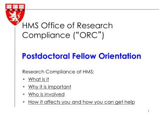 Postdoctoral Fellow Orientation