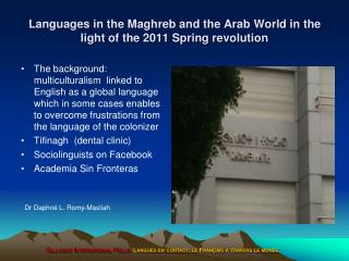 Languages in the Maghreb and the Arab World in the light of the 2011 Spring revolution