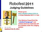 Robofest 2011   Judging Guidelines