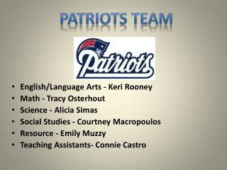 English/Language Arts - Keri Rooney   Math - Tracy  Osterhout Science - Alicia  Simas