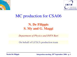 MC production for CSA06