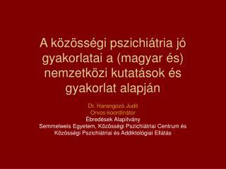 A közösségi pszichiátria jó gyakorlatai a (magyar és) nemzetközi kutatások és gyakorlat alapján
