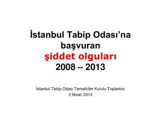İstanbul Tabip Odası'na  başvuran şiddet olguları 2008 – 2013