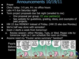 Announcements 10/19/11