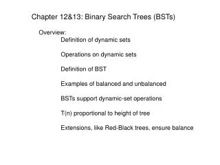 Chapter 12&13: Binary Search Trees (BSTs)