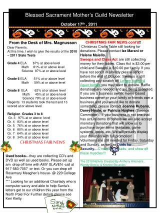 Blessed Sacrament Mother's Guild Newsletter