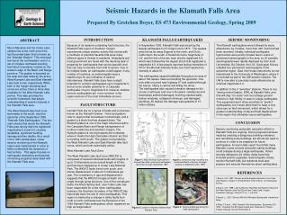 Seismic Hazards in the Klamath Falls Area