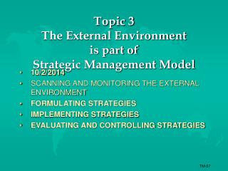 Topic 3  The External Environment is part of  Strategic Management Model