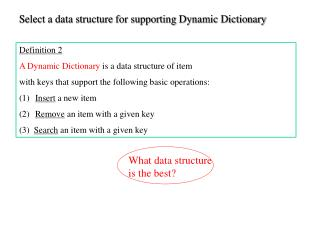 Definition 2 A Dynamic Dictionary  is a data structure of item
