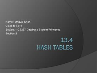 13.4  Hash Tables