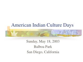 American Indian Culture Days