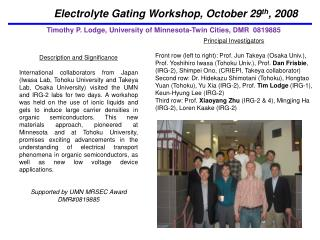Electrolyte Gating Workshop, October 29 th , 2008