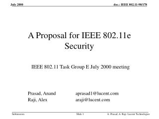 A Proposal for IEEE 802.11e Security