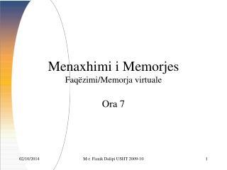 Menaxhimi  i Memorjes Faq ëzimi/Memorja virtuale