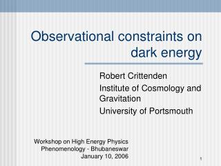 Observational constraints on  dark energy